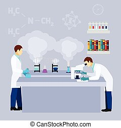 Chemical lab science research flat poster - Chemistry...