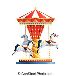 Realistic Carousel Isolated - Realistic retro carousel with...