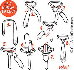 Tie Knot Sketch - Half windsor knot tie making instructions...