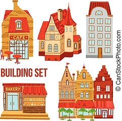 Old Town Buildings Set - Old town flat buildings set with...