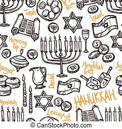 Hanukkah Seamless Pattern - Hanukkah seamless pattern with...