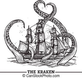 Ship And Octopus - Giant octopus catches old style sail ship...