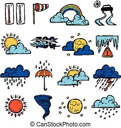Weather Color Set - Weather forecast symbols color...