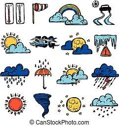 Weather Color Set - Weather forecast symbols color...