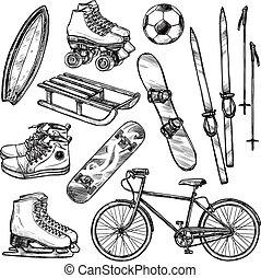 Sport Equipment Set - Winter and summer sport equipment set...
