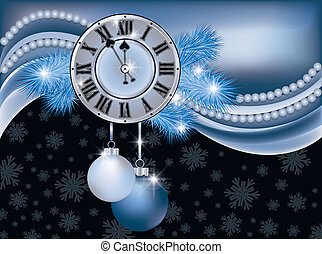 New Year background with clock - New Year background with...