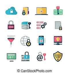 Data Encryption Icons - Data encryption and information...
