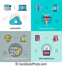 Data Encryption Set - Data encryption design concept set...