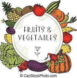 Healthy food fruits vegetables frame