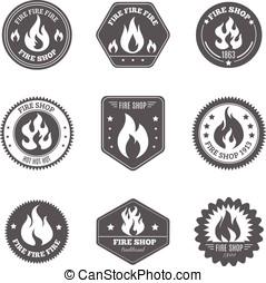 Fire shop emblems icons set black