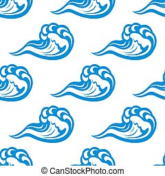 Blue waves seamless pattern on white - Ocean seamless...