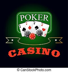 Poker symbol with playing cards and gambling chips