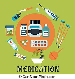 Medication icons with drugs and tools - Medication flat...