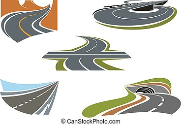 Modern highways, roads and freeways icons - Crossroad,...
