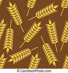Yellow wheat ears seamless pattern