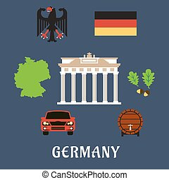 Germany national and travel flat icons