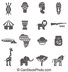 African culture black icons set - African natural wild life...