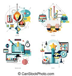 Creative Work Icons Set - Creative work and ideas icons set...