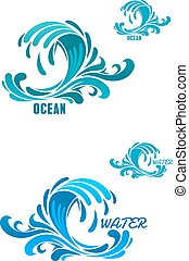 Blue wave icons with swirly water drops