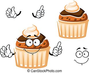Muffin with chocolate glaze and cream - Friendly muffin...