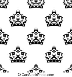 Seamless royal crowns pattern background