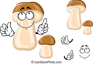 Smiling cartoon brown bolete mushroom - Wild forest king...