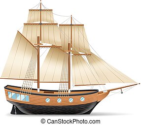 Sailing Ship Illustration - Wooden sailing ship with two...