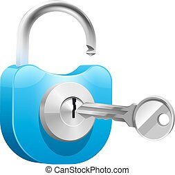 Padlock With Key Illustration