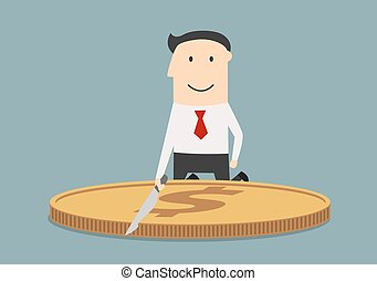 Businessman cutting a huge dollar coin - Cheerful...