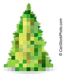 Christmas Tree Illustration - Christmas tree with green...