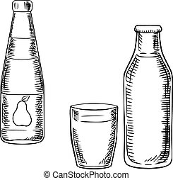 Milk and pear juice drinks sketches