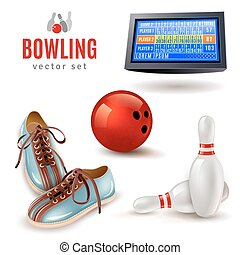 Bowling Icons Set - Bowling realistic icons set with shoes...