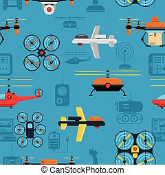 Drones Seamless Background - Drones seamless background with...