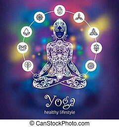 Yoga lotus meditating woman color banner - Meditating in...