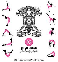 Yoga poses asanas pictograms composition poster - Ten...