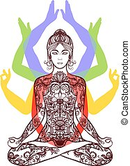 Yoga meditating in lotus asana icon - Yoga meditating woman...