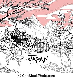 Japan Landscape Background - Japan landscape background with...