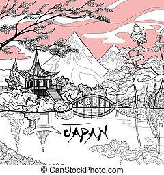 Japan Landscape Background - Japan landscape background with...