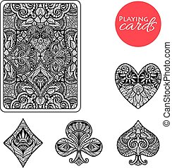 Decorative Card Suits Set - Decorative playing card suits...