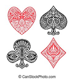 Card Suits Set - Playing card suits hand drawn set with...