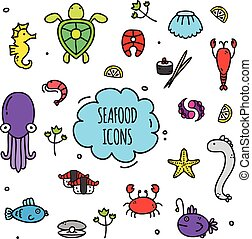 Seafood Icons Set - Seafood icons set with crabs fish sushi...