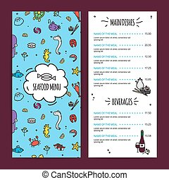 Seafood Menu Design Set - Seafood menu design set with main...