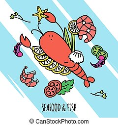 Seafood Concept Illustration - Seafood and fish concept...