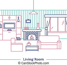 Living Room Line Design - Living room line design with...