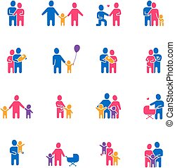 Family Icons Set - Family icons set with parents children...