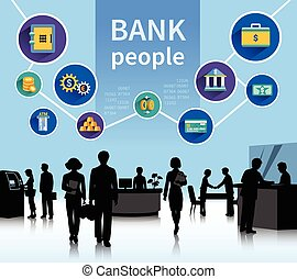 Financial world bank people concept banner