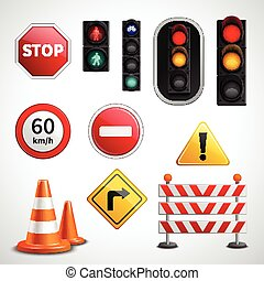Traffic signs and lights pictograms collection - Road...