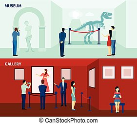 Museum visitors 2 flat banners poster - Art gallery visitors...