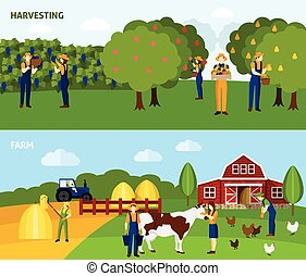 Farming 2 flat horizontal banners composition - Orchard...