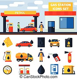 Gas petrol station icons collection banner